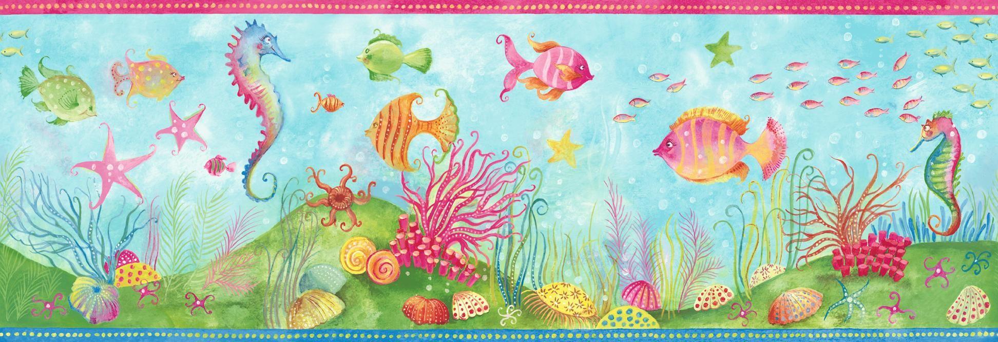 Blue Mountain Wallcovering Fun N Flirty Fish Border Wallpaper Wallpaper Border Kids Fishing Bathroom Decor Wallpaper Border