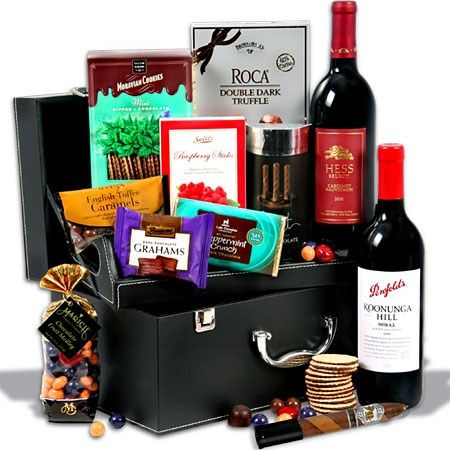 His and Hers Gift Basket for Couples - Includes Chocolate for Her, Cigars for Him, Red Wine and snacks for all. Extravagant and delightful!