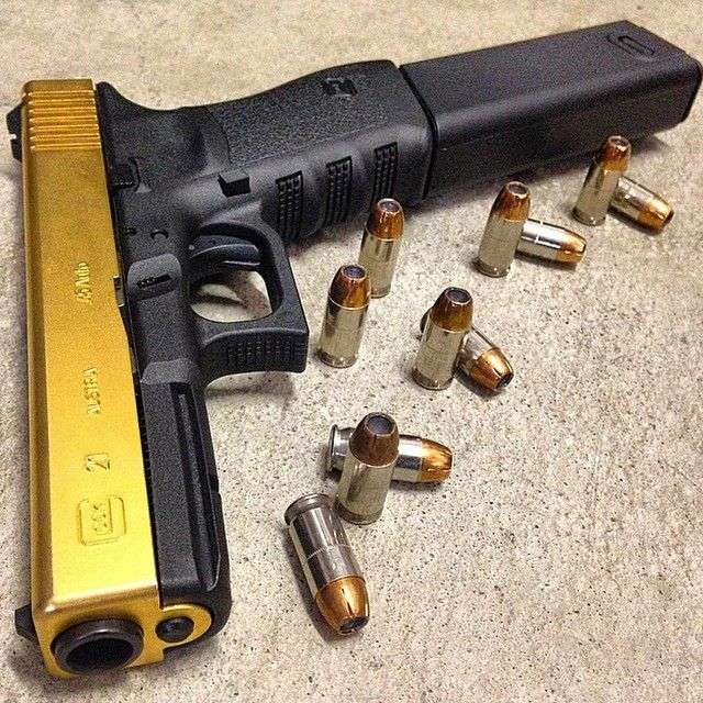 Gold plated Glock 21 chambered in  45acp  Photo