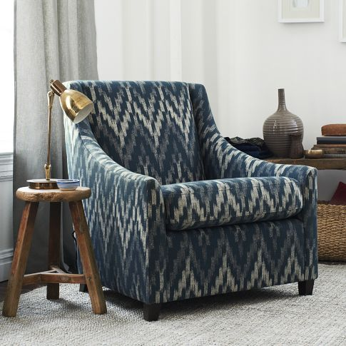 Sweep Armchair Upholstered In Royal Blue Ikat Chevron From West Elm Living Room ChairsLiving