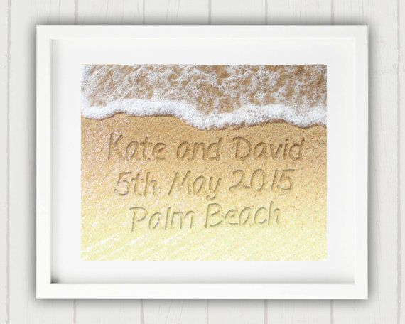 Wedding Gift Name In The Sand Print Beach By Oceandropphotography