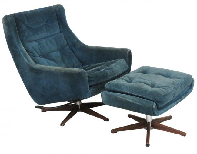 JOHN STUART DANISH MODERN LOUNGE CHAIR U0026 OTTOMAN : Lot 10
