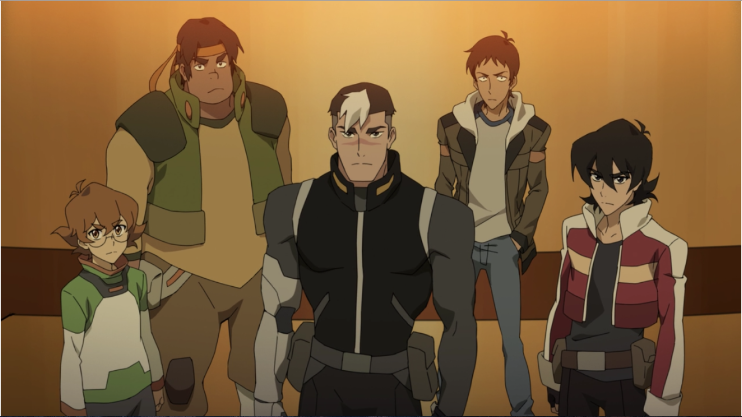 Shiro, Keith, Lance, Pidge and Hunk from Voltron Legendary