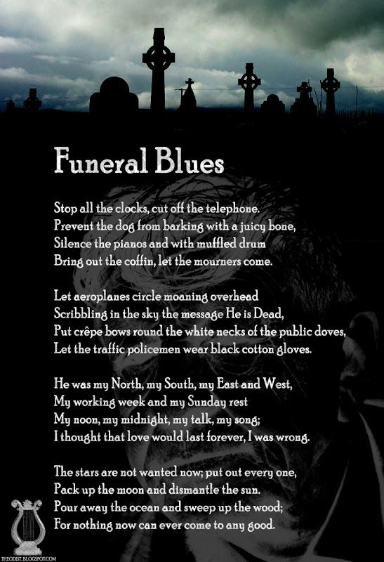 a literary analysis of funeral blues by w h auden W h auden: poems study guide contains a biography and analysis summary and analysis funeral blues by students and provide critical analysis of w h auden.