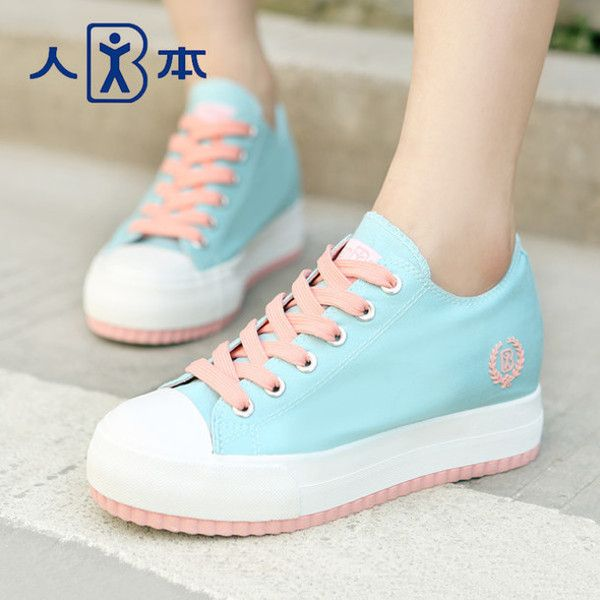 Shoes: kawaii cute pastel plateau sneakers pink turquoise platform... ❤ liked on Polyvore