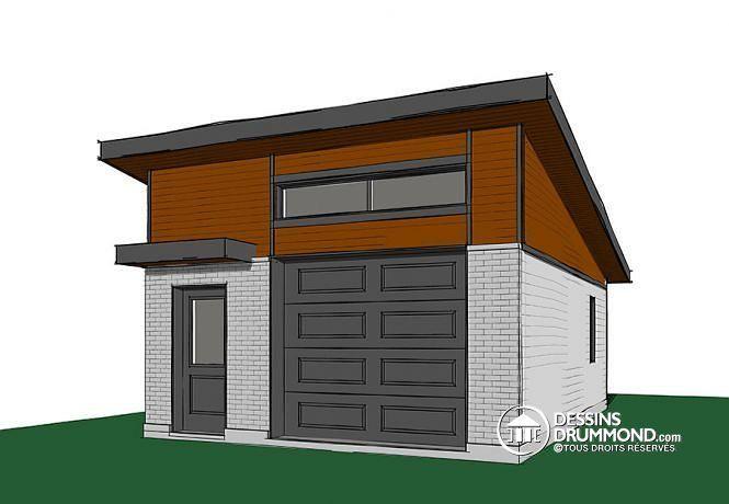 W3989-18 - Garage simple de style contemporaine, pratique pour son - site pour plan de maison