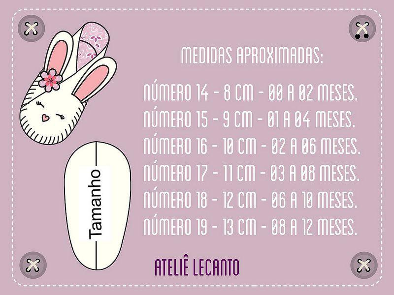 Tabela d medidas dos sapatinhos de bebês | Sapatos de feltro