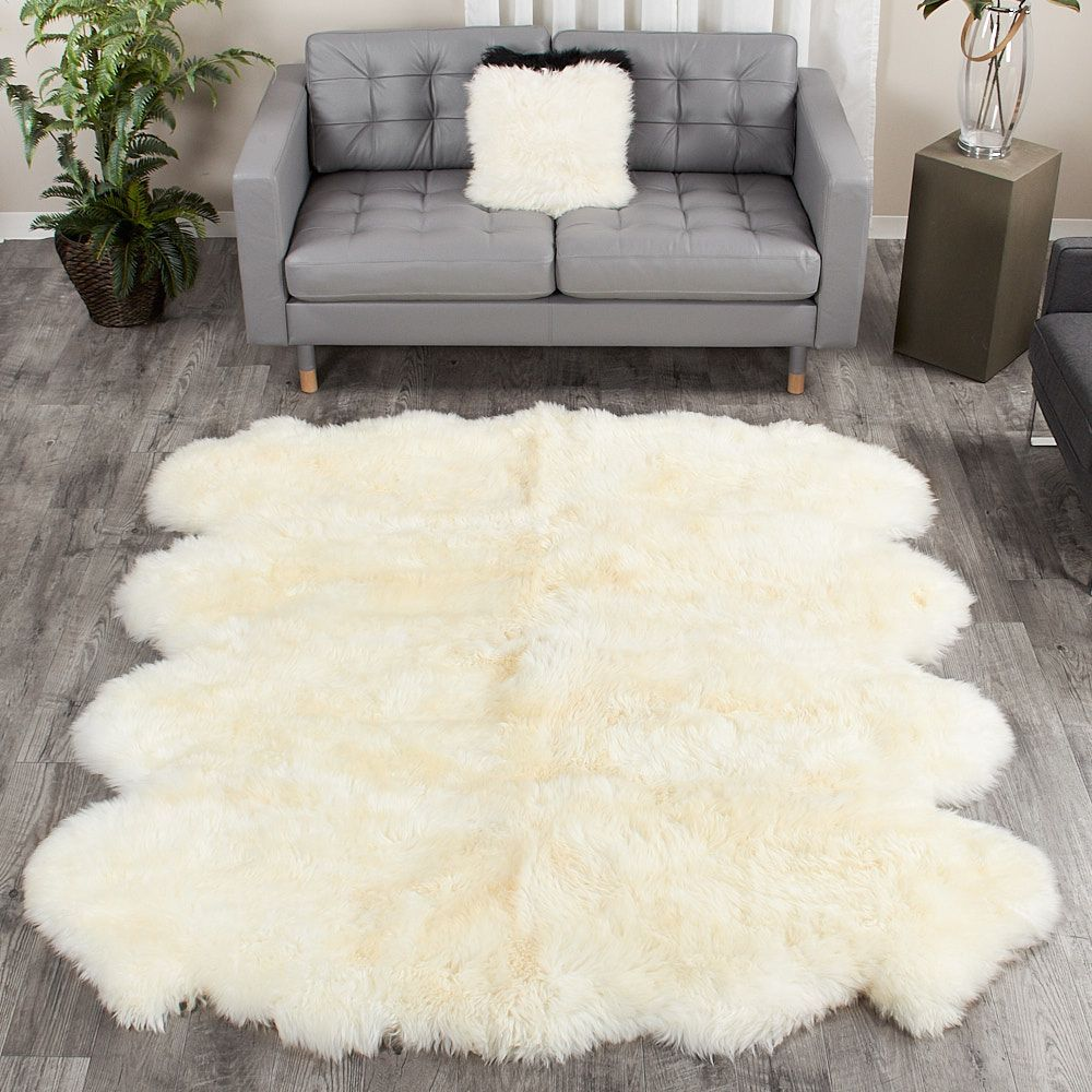 Our Largest Sheepskin Rugs Made From Eight 100 Genuine Australian Sheepskin Pelts Are Perfect For Anyone Look Sheepskin Rug Large Sheepskin Rug Lambskin Rug