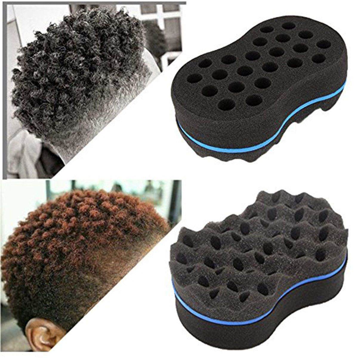 Home Appliance Parts Double Sided Barber Hair Brush Sponge Dreads Locking Twist Coil Afro Curl Wave
