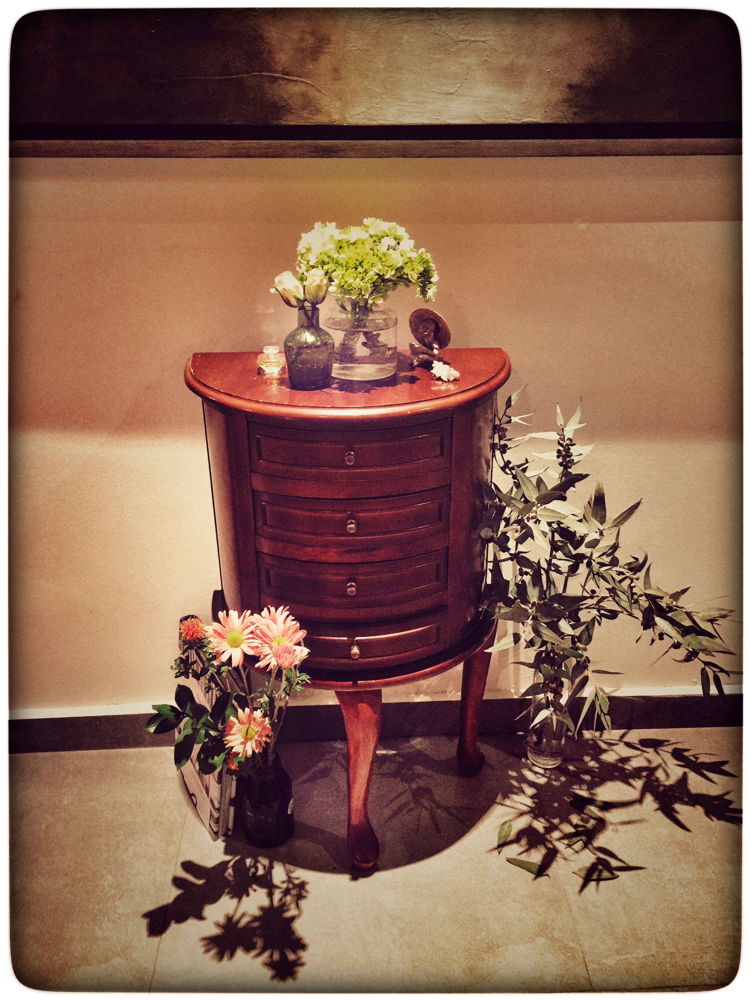 Antique chest with flowers