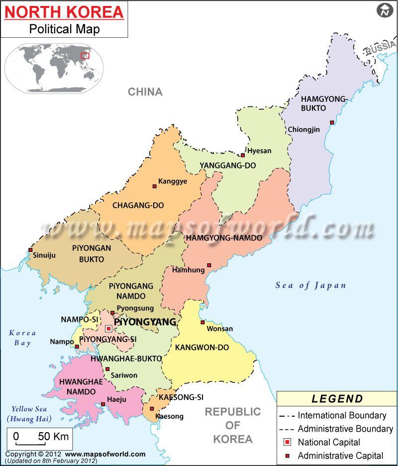 Political Map Of Korea North Mapas Pinterest North Korea - North korea map