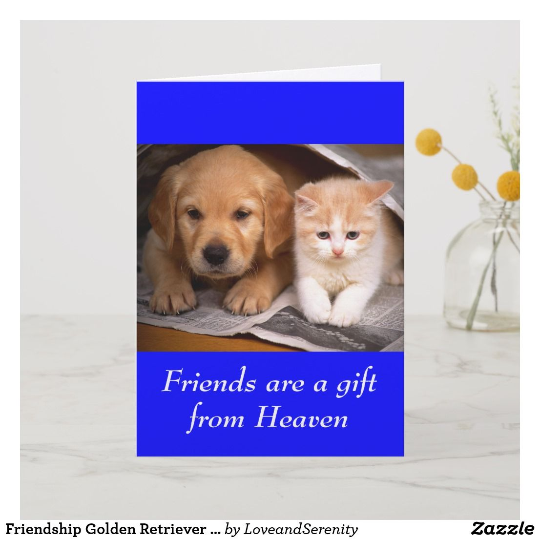 Friendship Golden Retriever Puppy Kitten Card Zazzle Com