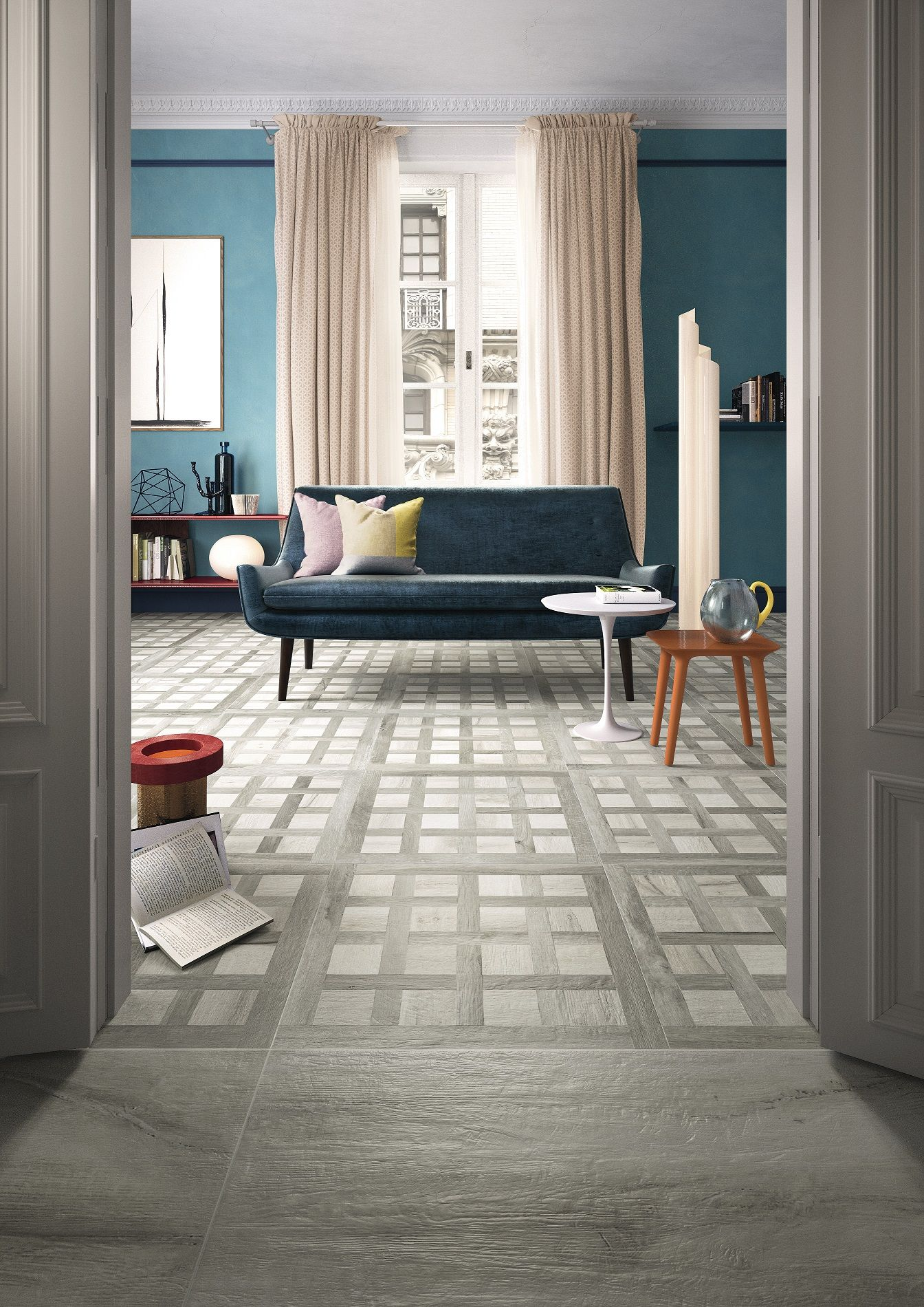 Kuni Intarsi WG white wood effect glazed porcelain floor
