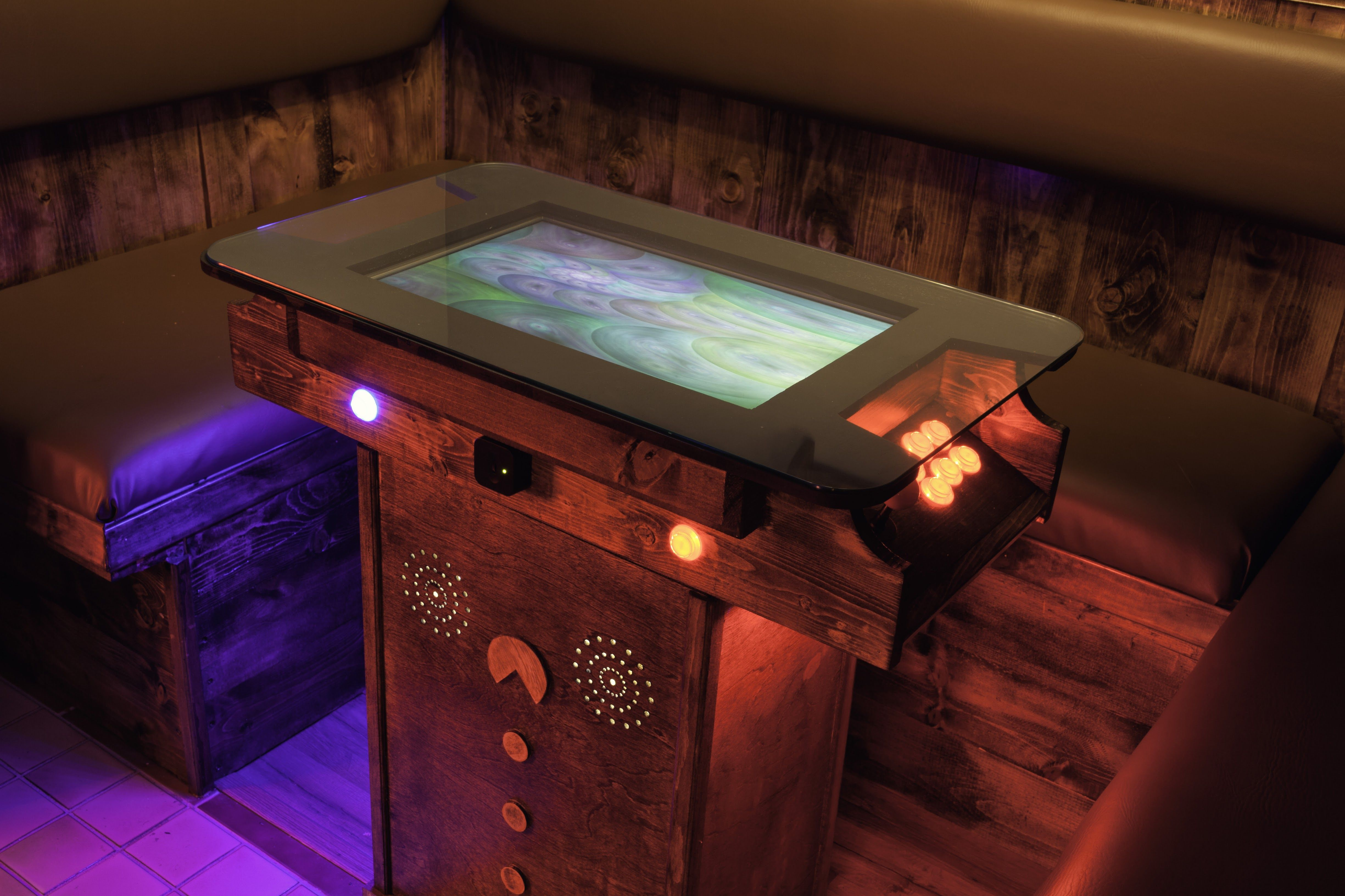 Custom DIY Cocktail Arcade Table and Booth via Reddit user