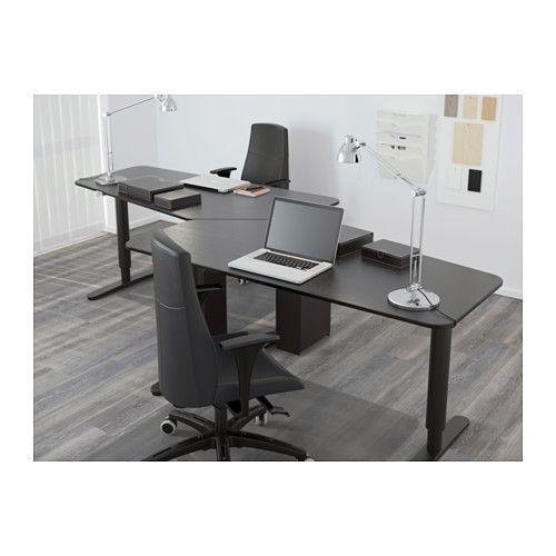 Bekant 5 Sided Desk Sit Stand Black Brown Black Ikea