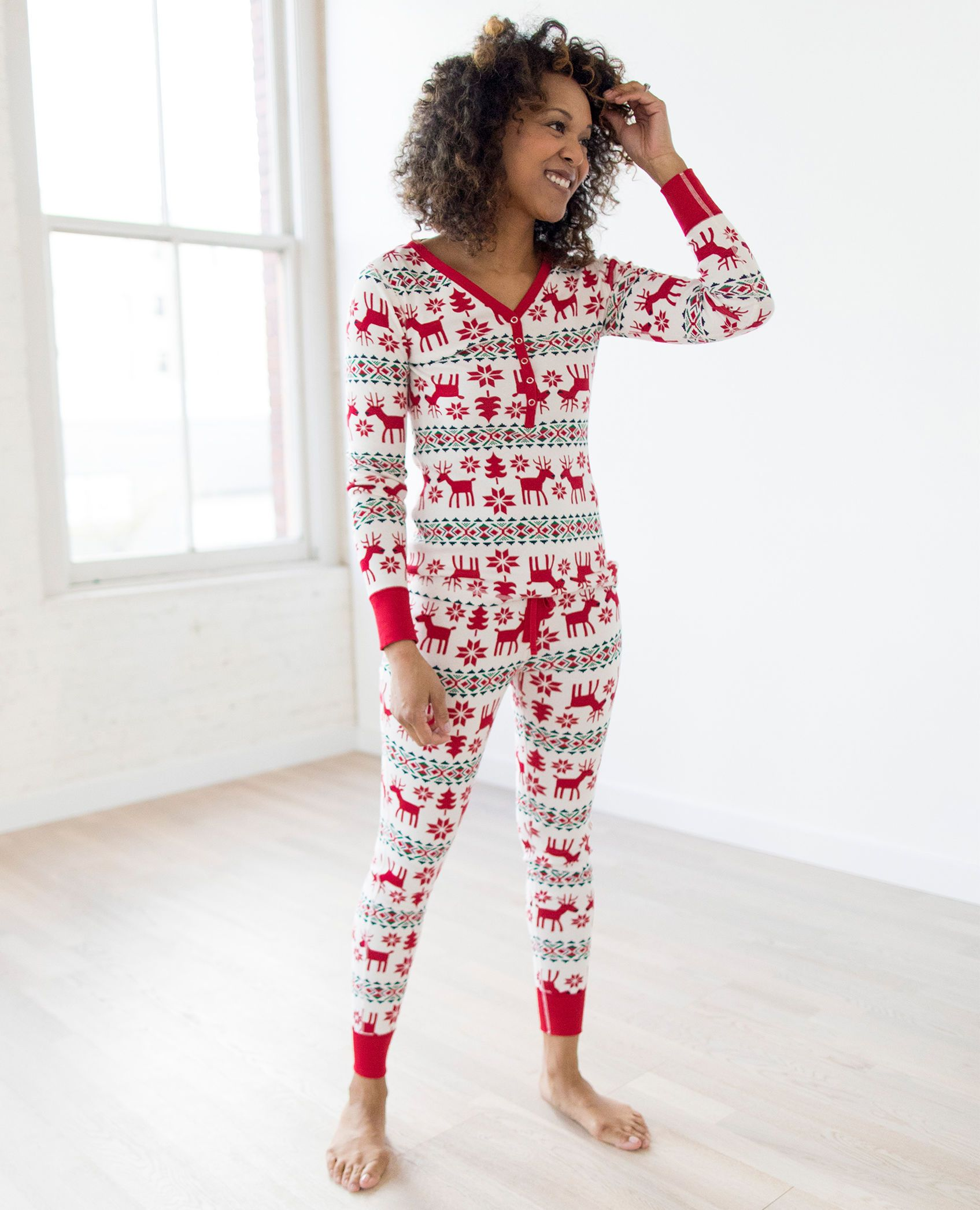 cfa3e8c8e1 Organic Cotton women s henley pajama top in dear deer print from Hanna  Andersson