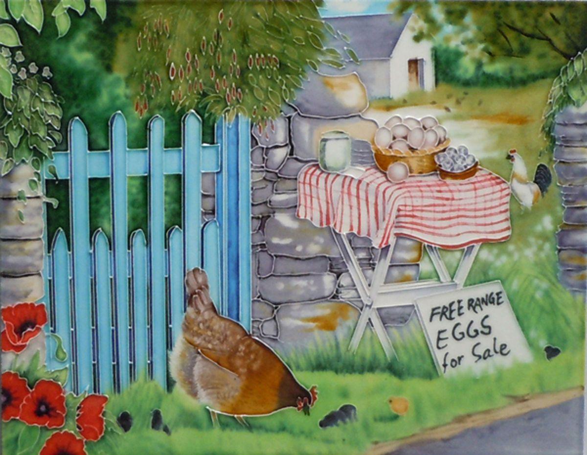 Chicken farm scene ceramic picture tile art 11x14\