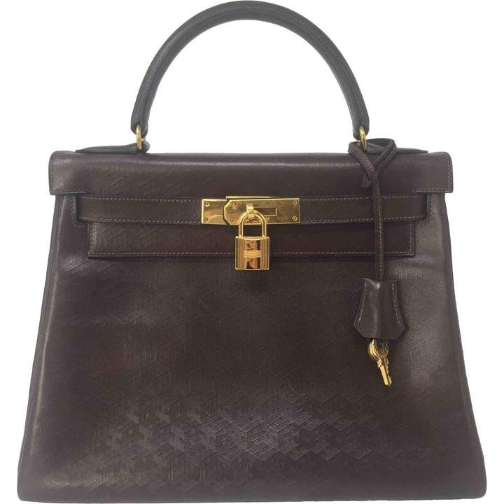 Photo of Kelly 28 leather handbag Hermès Brown in Leather – 7817280