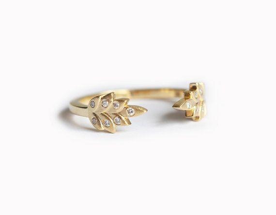 Vine Ring Wedding Band Open Leaf By MinimalVS