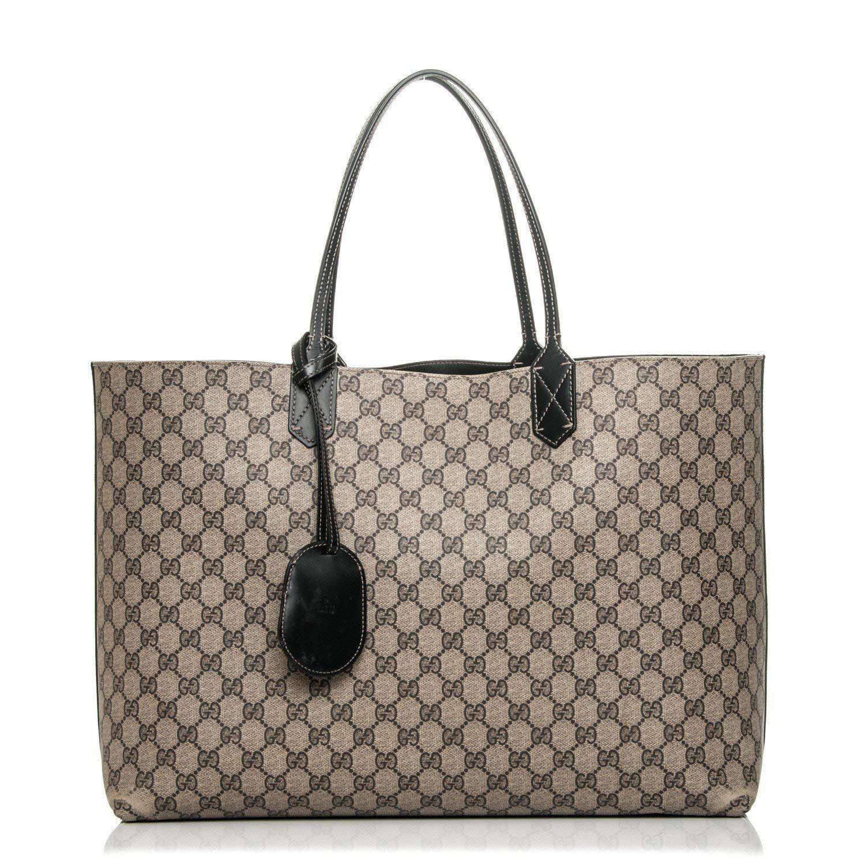 Amazon.com  Gucci Signature Tote Reversible Black Leather Bag Leather Italy Handbag  New  8e316e57992ed