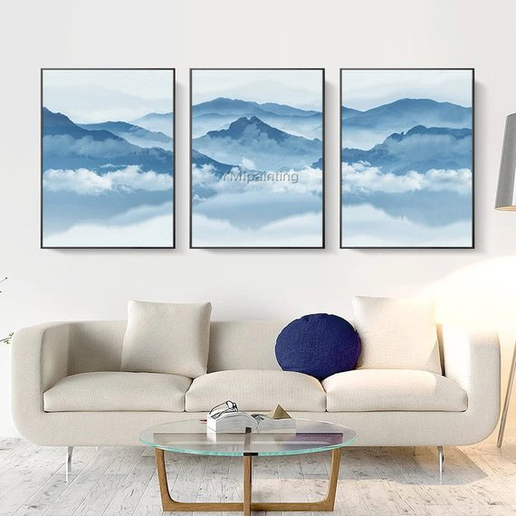 Set Of 3 Wall Art Mountain Art Framed Wall Art Cloud Paintings Etsy In 2021 Abstract Canvas Painting Canvas Painting Modern Abstract Painting
