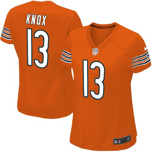 nike chicago bears johnny knox elite jersey women orange 13 alternate nfl jerseys sale