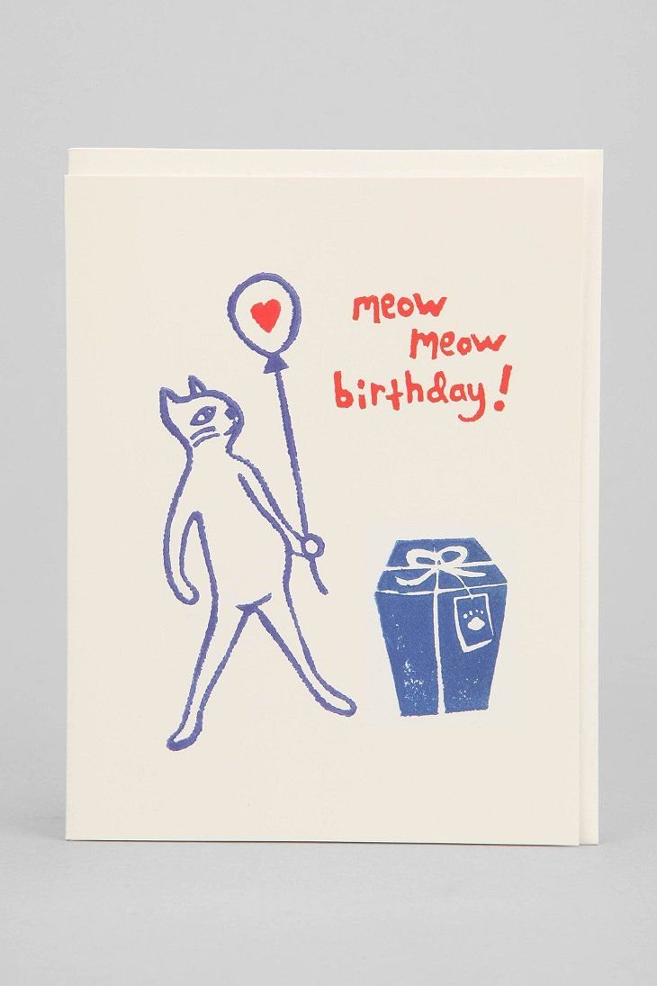 the found meow meow birthday card  urban outfitters