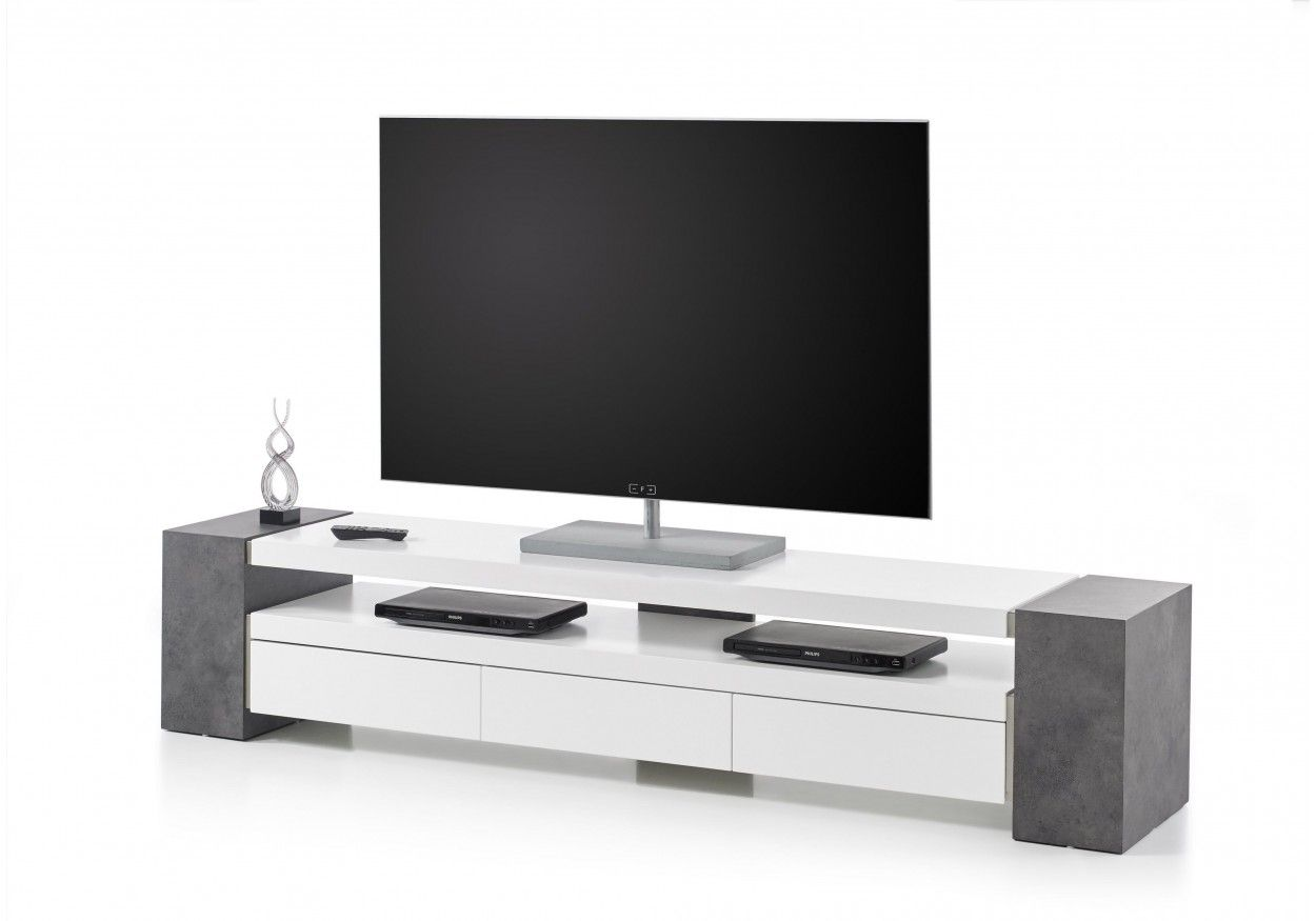 tv-rack weiss matt/ betonoptik woody 41-02599 | pinterest