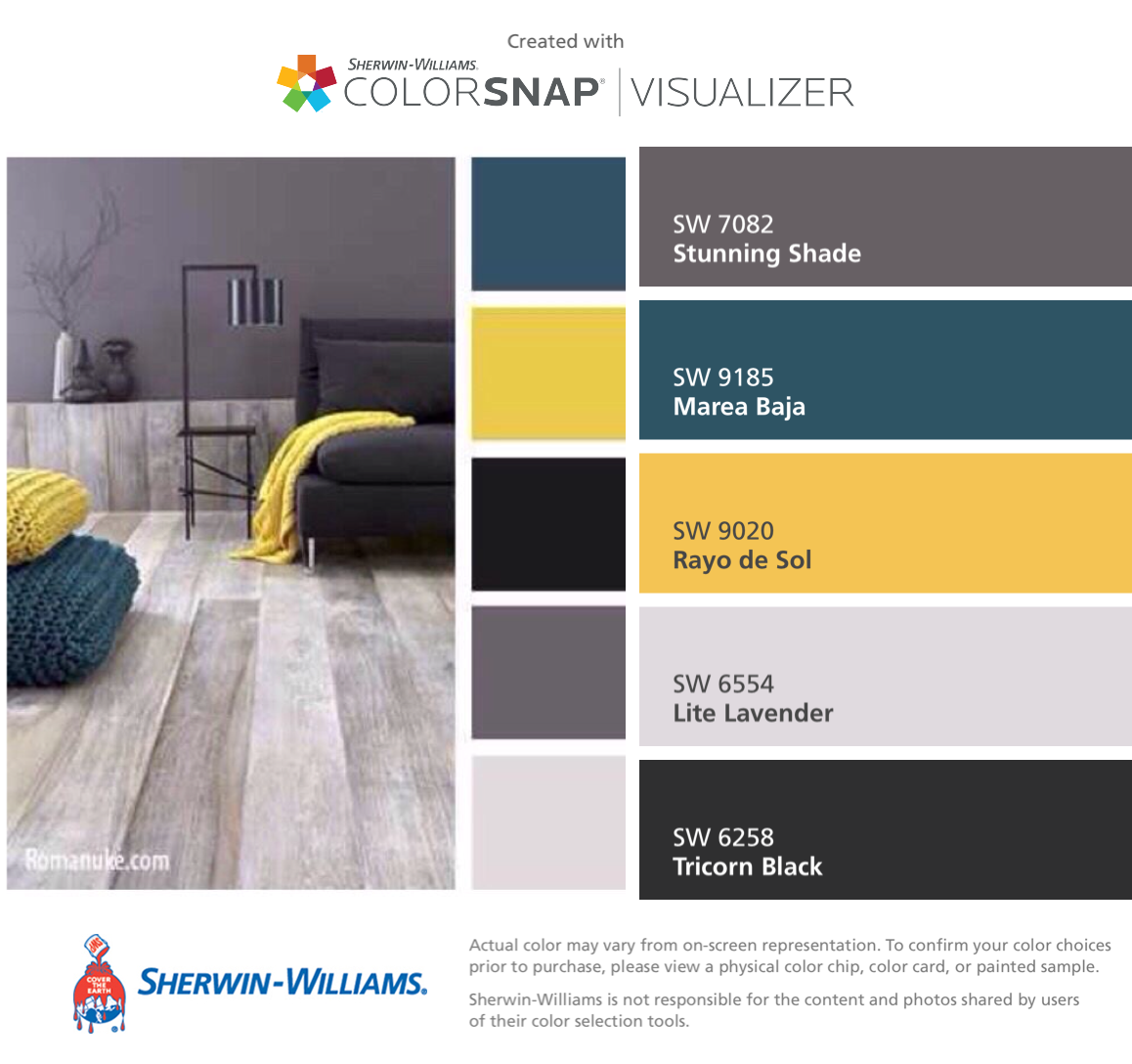 I Found These Colors With ColorSnap® Visualizer For IPhone By  Sherwin Williams: Stunning Shade (SW Marea Baja (SW Rayo De Sol (SW Lite  Lavender (SW Tricorn ...