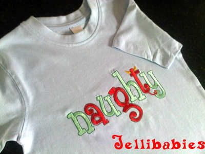 """""""Naughty!"""" Childrens christmas T shirt In Personalised Baby's First Christmas at Jellibabies personalised baby and childrens clothes and accessories Devon"""