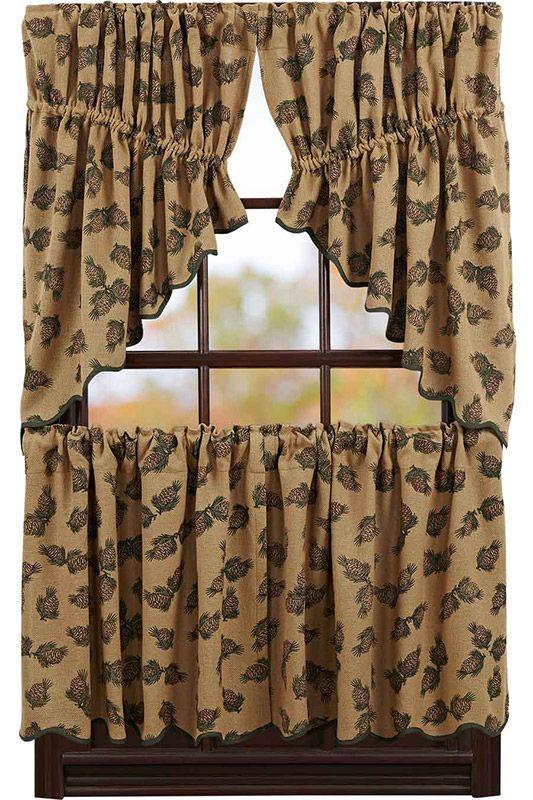 Pine Cone Printed Burlap Prairie Curtain Swag 36 X 36 Printing