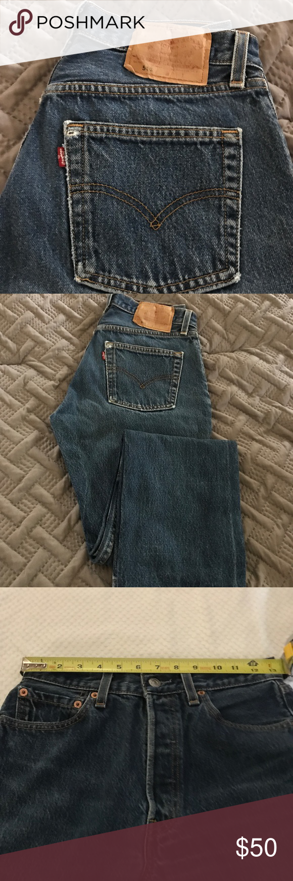 """501 high waisted Levi's jeans 👖 501 Vintage High Waisted Women's Levi's  Jeans, button up, the waist measures at 13 1/2 inches, from waist to crotch measures at 11 inches. The original tags says waist 29"""",length 30"""", made in the USA! Levi's Jeans"""