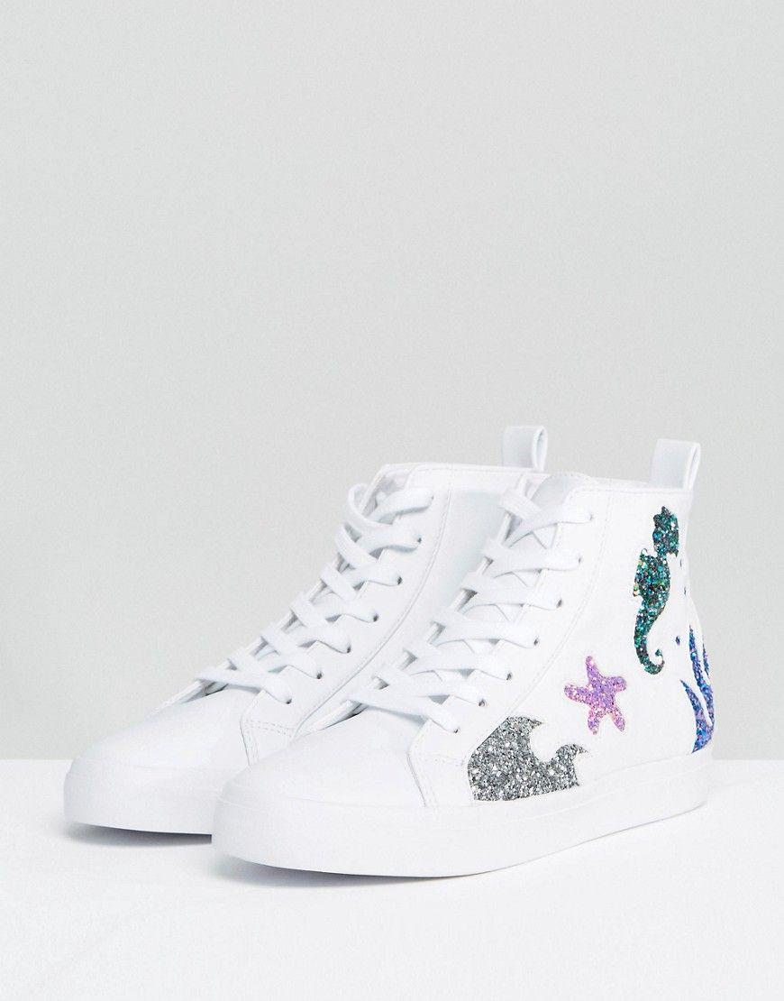 5fe92a2a351bca ASOS DIVE IN SeaHorse High Top Sneakers - White