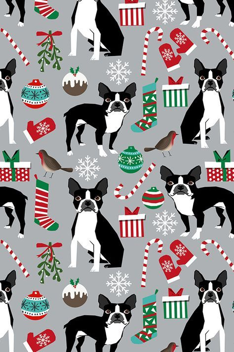 Colorful Fabrics Digitally Printed By Spoonflower Boston Terrier Christmas Fabric Cute Xmas Holiday Dogs Design Cute Christmas Fabrics For Dogs Boston Terrier Christmas Christmas Backrounds Hand Illustration