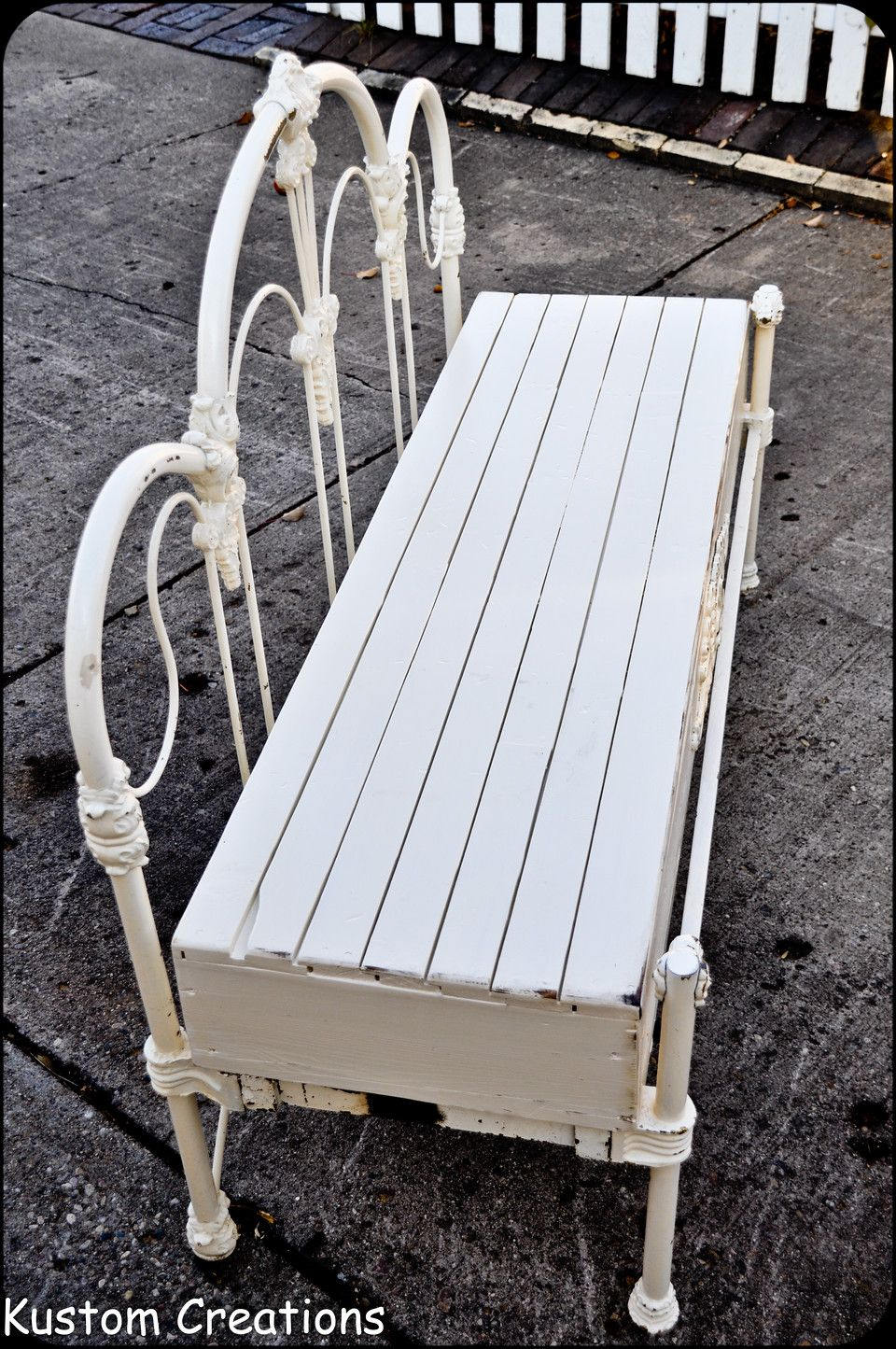 Custom bench made from old wrough iron headboard, footboard and bed ...
