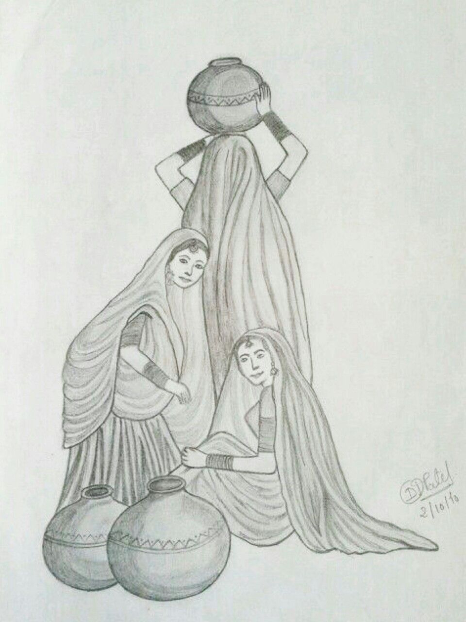 Village women panihari drawing girl drawing sketches drawing ideas
