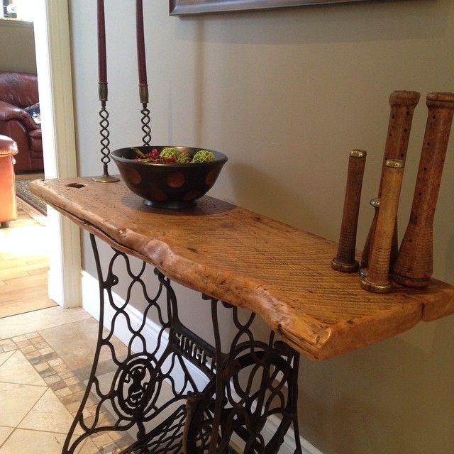 this table is made with a vintage singer sewing machine base and a 100 year old barn board piece. Black Bedroom Furniture Sets. Home Design Ideas