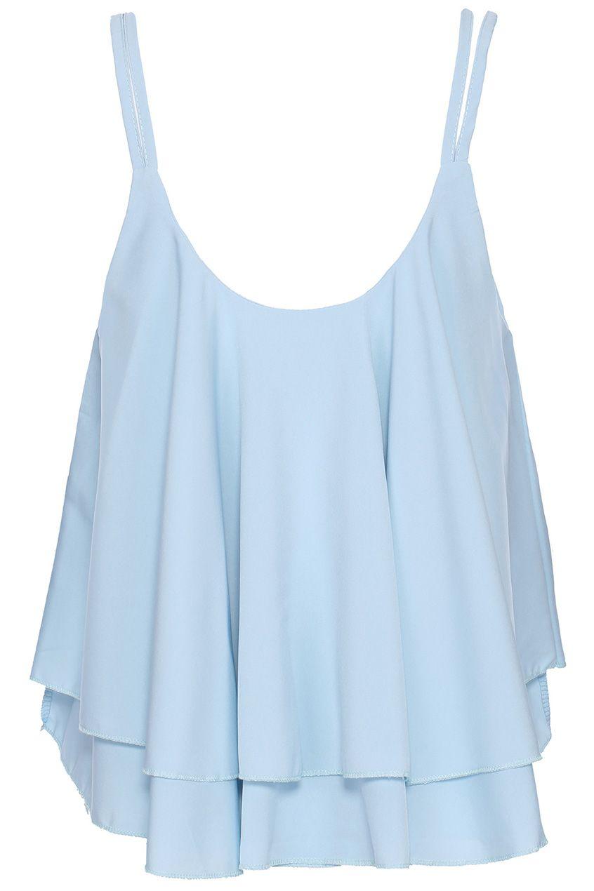 fab3117541f Asymmetric Layered Blue Camisole Vest