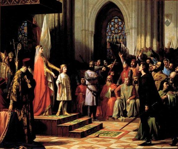 María de Molina presenta a su hijo Fernando IV en las Cortes de Valladolid de 1295 by Antonio Gisbert Pérez 1863