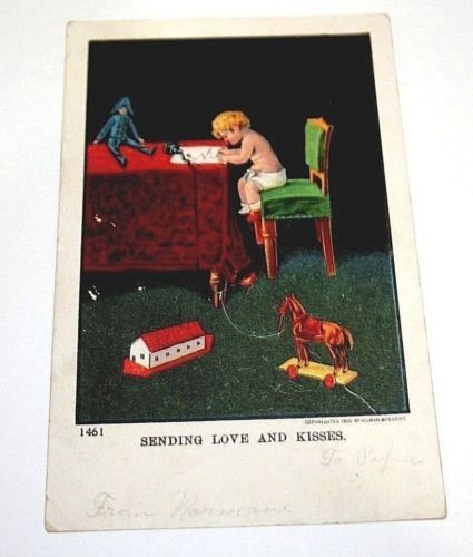 Antique Postcard Sending Love Kisses Nursery Baby Writing Letter