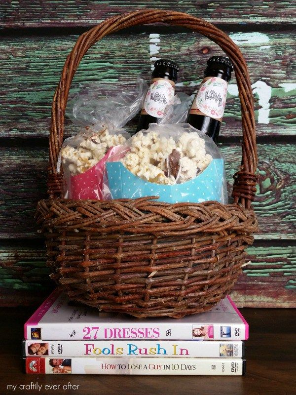 Adult valentine gift basket