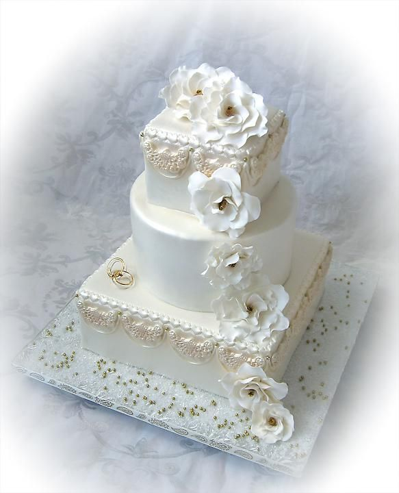 gadenia and swag 50th wedding anniversary cake.jpg provided by Truly Custom Cakery, LLC Warminster 18974