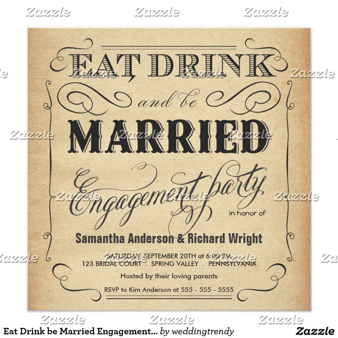 Eat Drink be Married Engagement Party Invitations | TYPOGRAPHY ...