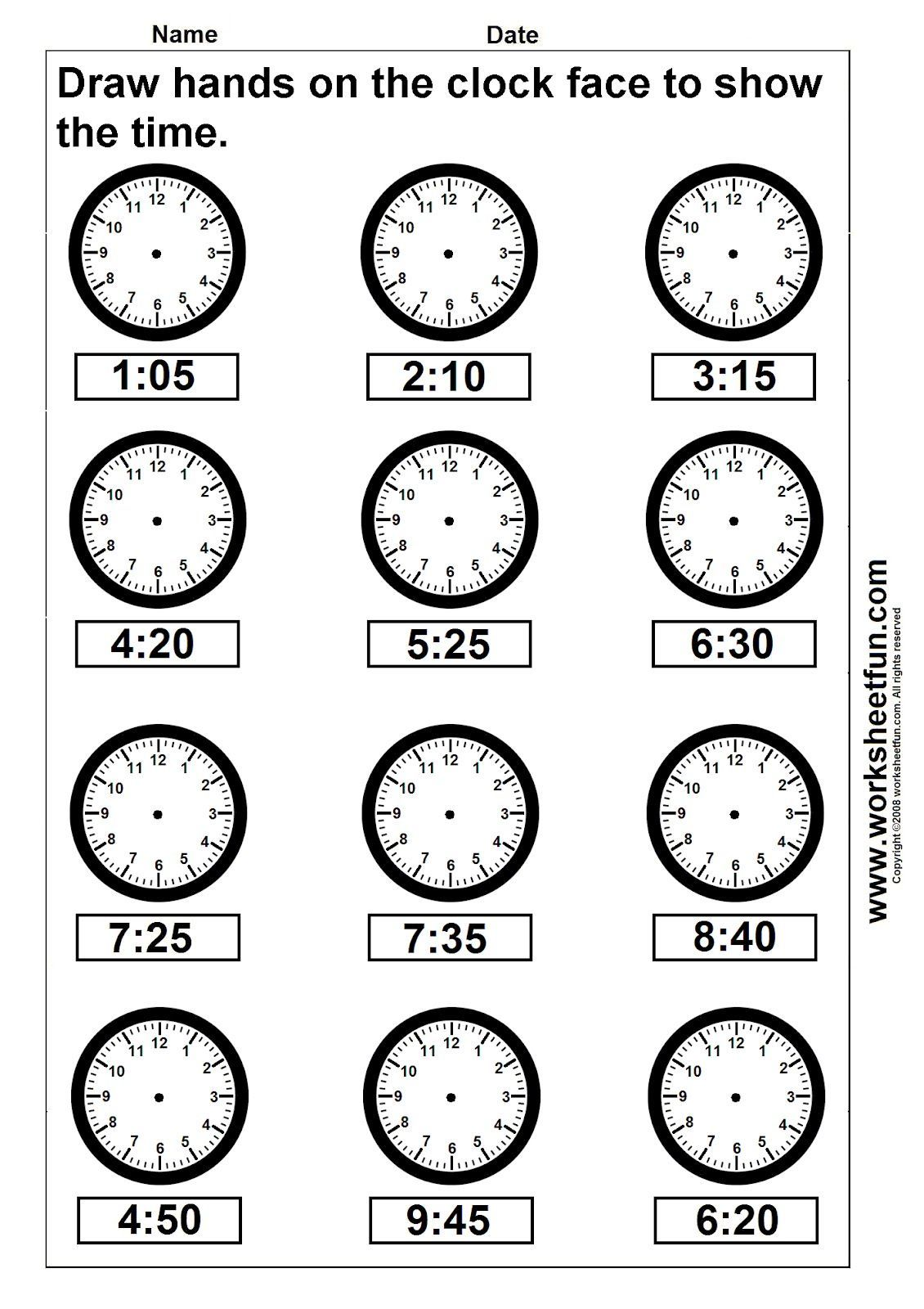 Clock Worksheets Time Draw Hands Worksheet 4 Summer