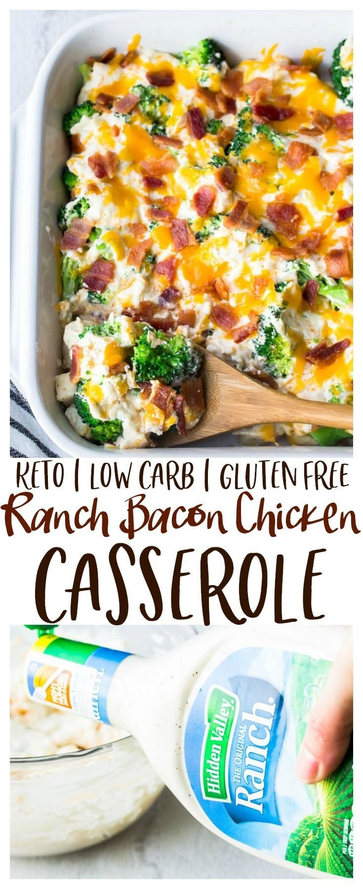 Ranch Bacon Chicken Casserole - an easy, super flavorful casserole recipe that's family friendly. Loaded with creamy Hidden Valley Ranch dressing and cheddar cheese, this casserole is also suitable for those following low carb, keto, or gluten free diets. | @hvranch
