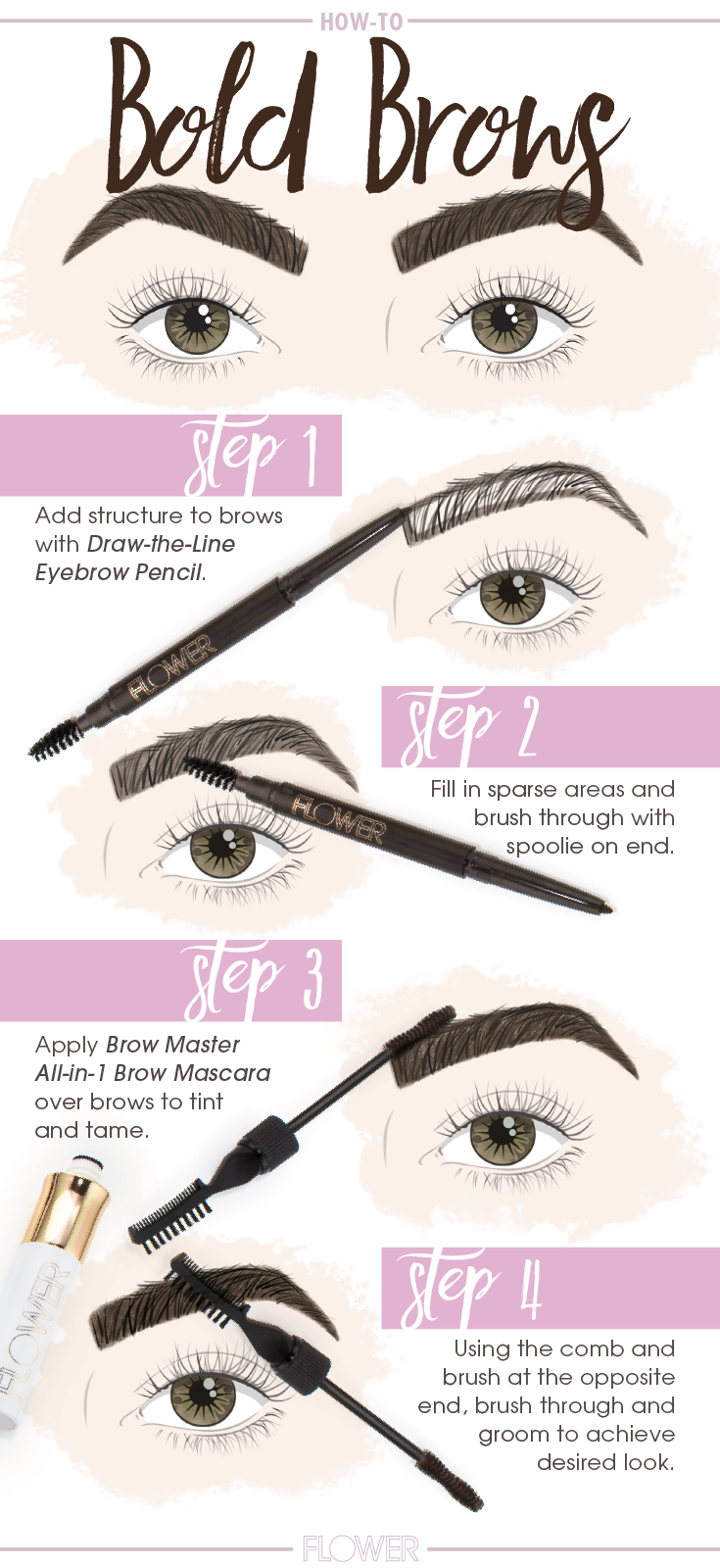 Create bold dramatic eyebrows in four simple steps with flowerbeauty draw the line eyebrow pencil brow master all in 1 brow mascara