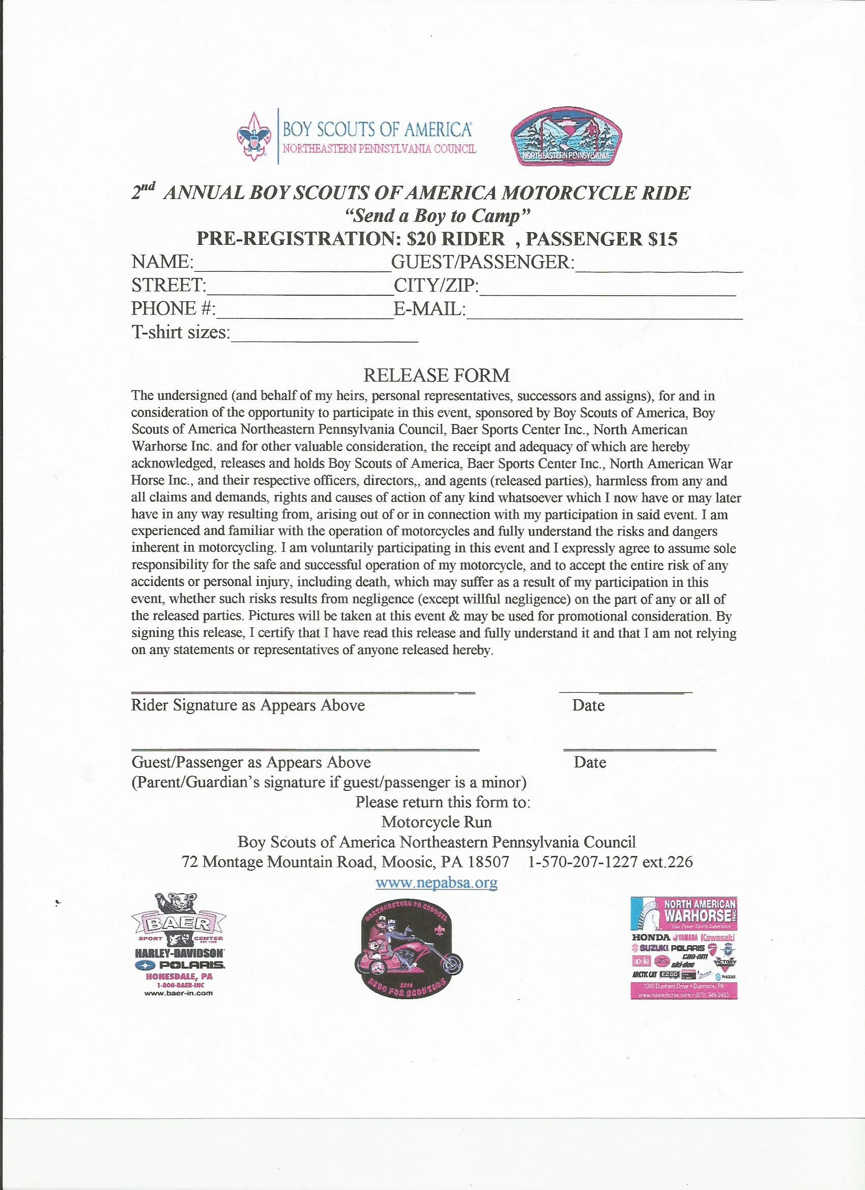 Registration Form Print And Submit Poker Run Individual Fundraising Riding Motorcycle