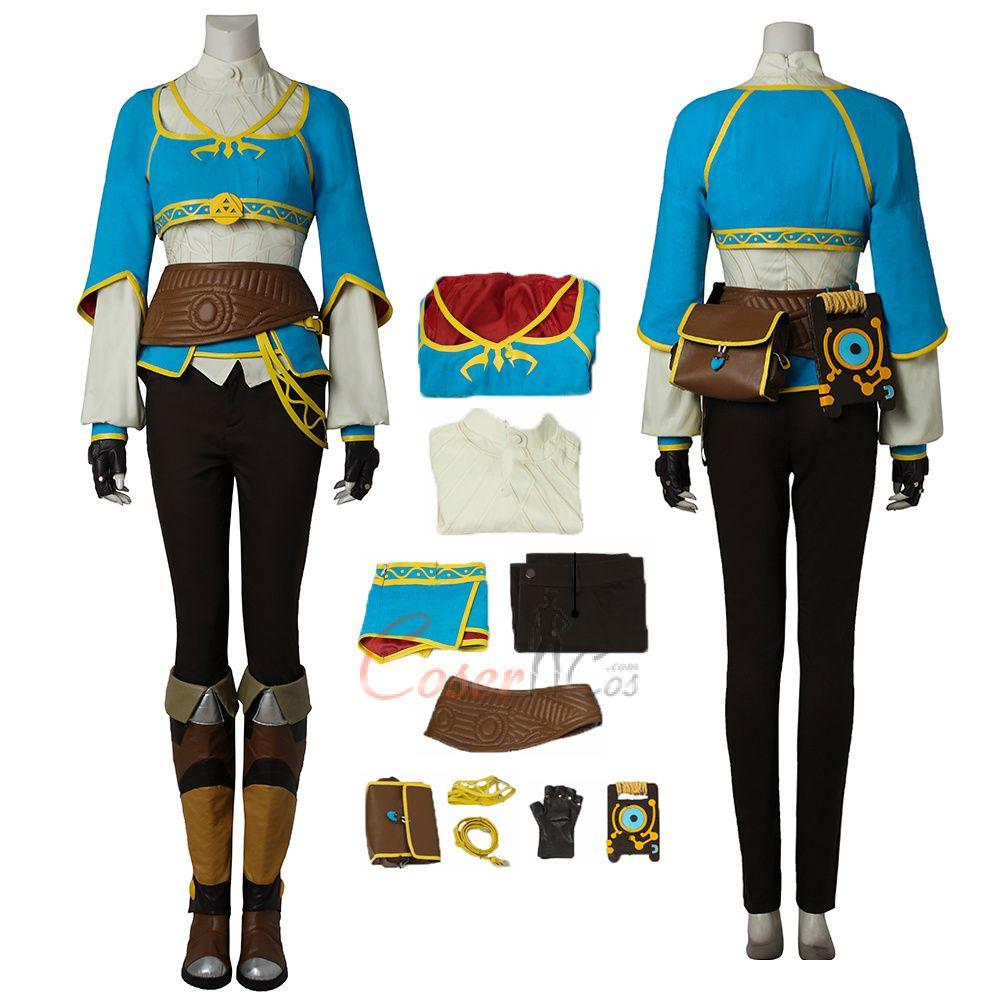 Breath Wild Princess Cosplay Costume Zelda Halloween Outfits Full Set