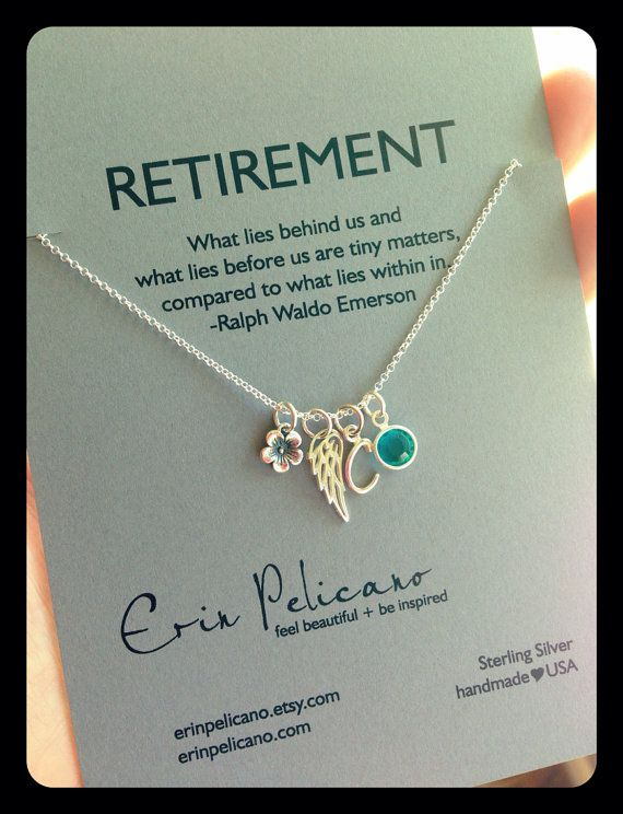 Retirement Gift / Charm Necklace / Personalized / Birthstone ...