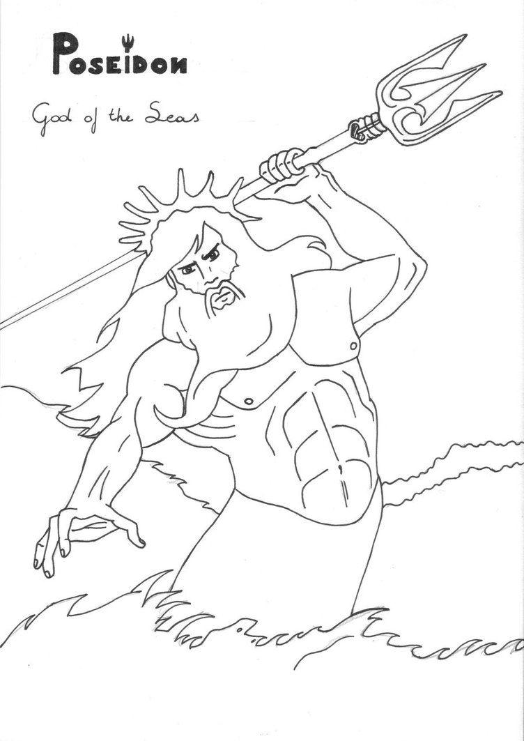 Poseidon by LilaTelrunya coloring page Greek God mythology